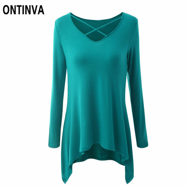 b5c44237a07e Oversize Casual Irregular Tee Shirts Tunic Women Plus Size 3XL Summer Cross  V-Neck Long Sleeve Tops Female Loose Tshirts Clothes