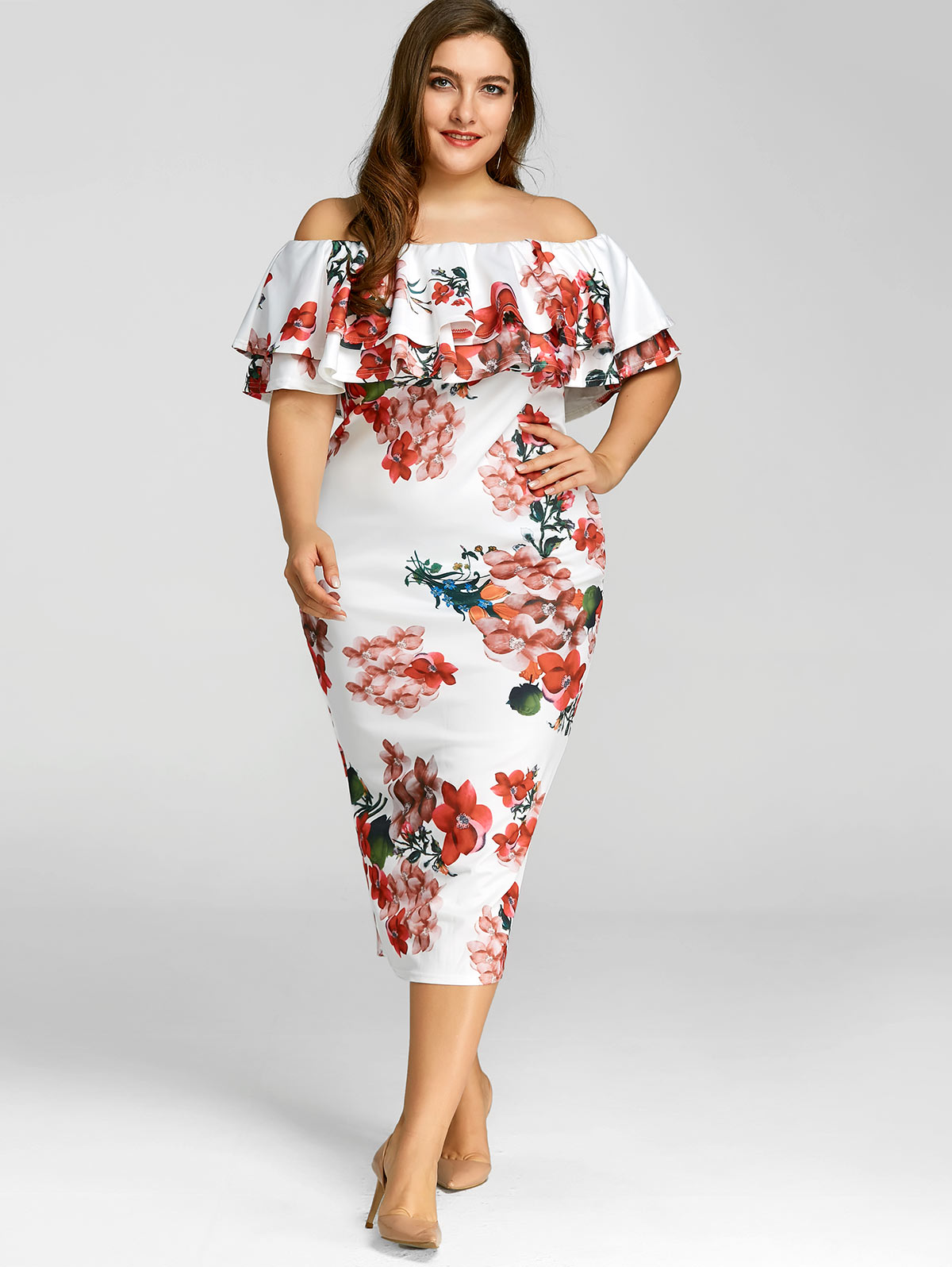 Dresses Length  Mid-Calf Neckline  Off The Shoulder Sleeve Length  Short  Sleeves Embellishment  Ruffles Pattern Type  Floral With Belt  No a0bc18365edd