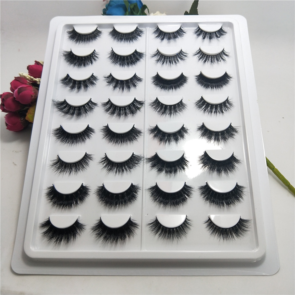 16pairs/set 3D Mink Lashes Full Strip Lashes False Eyelashes Handmade Mink Lashes Cruelty free Reusable Lash free shipping цена
