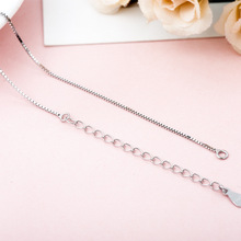 S925 sterling silver necklace female versatile pendant box chain item short clavicle accessories