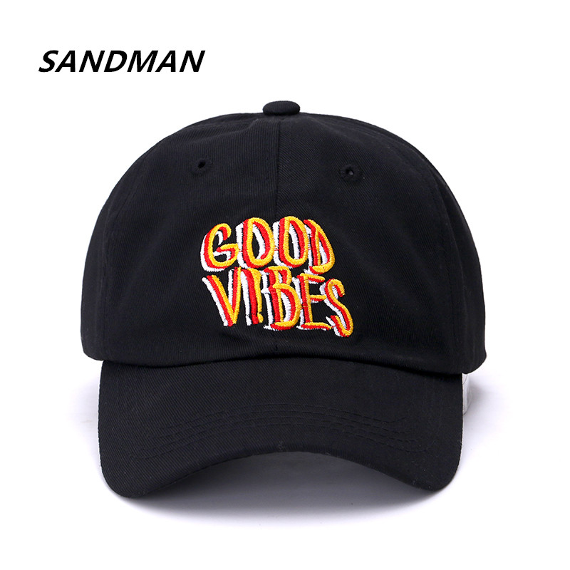 SANDMAN Brand Good Vibes Snapback Cap Cotton Baseball Cap For Men Women Adjustable Hip Hop Dad Hat Bone Garros adjustable la baseball cap men women snapback cap hat female male hip hop bone cap black cool fashion gorras letter cotton cap