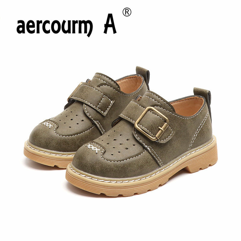 Aercourm A Children Shoes 2018 Kids Spring Shoes Breathable Boys Sneakers British Casual Boys Students Shoes Metal Button 21-30