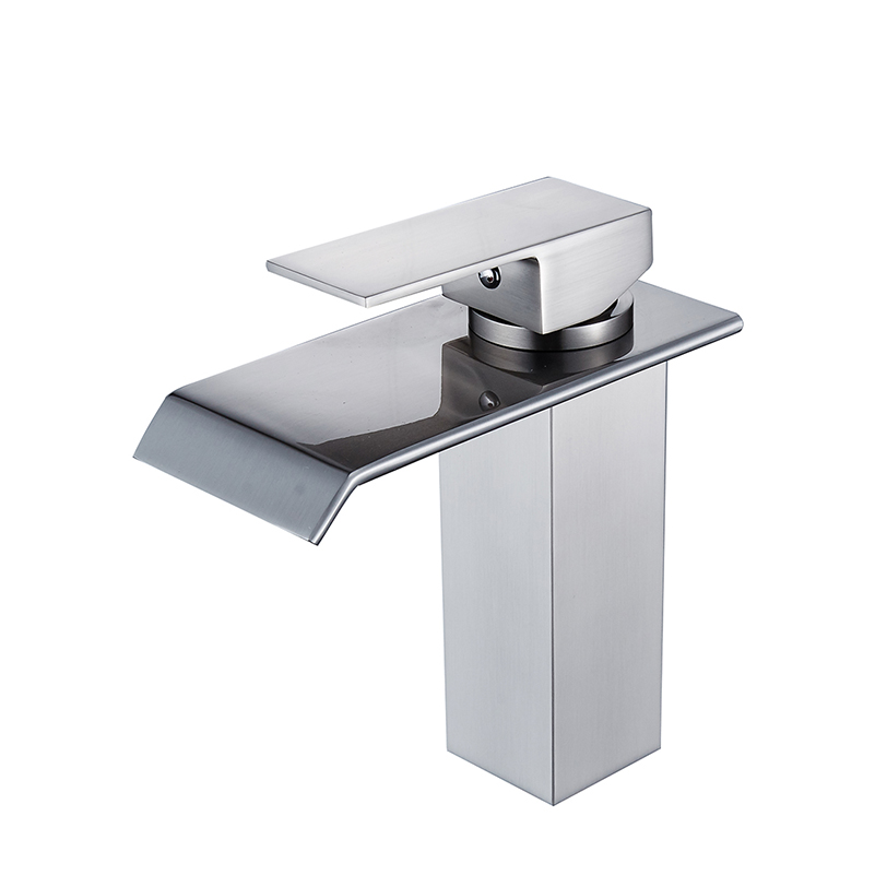 flg waterfall faucet bathroom basin faucets nickel brushed brass mixer tap waterfall faucets hot cold crane basin tap