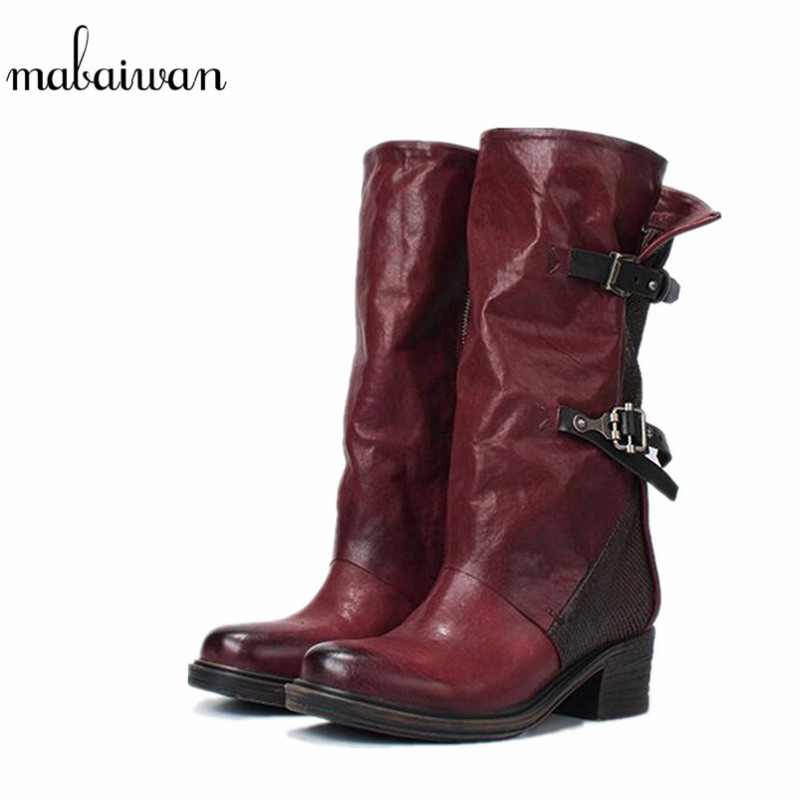 Mabaiwan 2017 Fashion Buckle Military Cowboy Boots Mid Calf Genuine Leather Women Shoes Zip Retro Motorcycle Shoes Woman Flats zippers double buckle platform mid calf boots