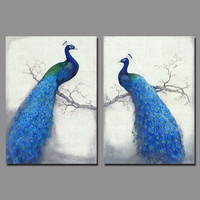 Art Retro Blue Peacock Children Living Room Kids Decoration Canvas Birds Painting Printed Wall Hanging Home