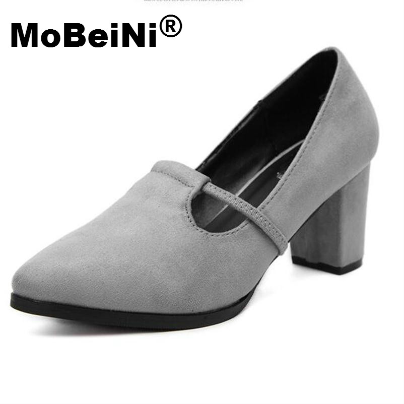MoBeiNi New Fashion Casual Women Ladies Pumps New Arrival Suede Flock Pointed Platform High Quality Square Low Heel Shoes Woman new 2017 spring summer women shoes pointed toe high quality brand fashion womens flats ladies plus size 41 sweet flock t179