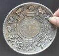 Украшение из бронзы с фабрики тибетское Серебро 10 см коллекционное украшение старинное тибетское серебро резная Китайская 12 тарелка зодиа...