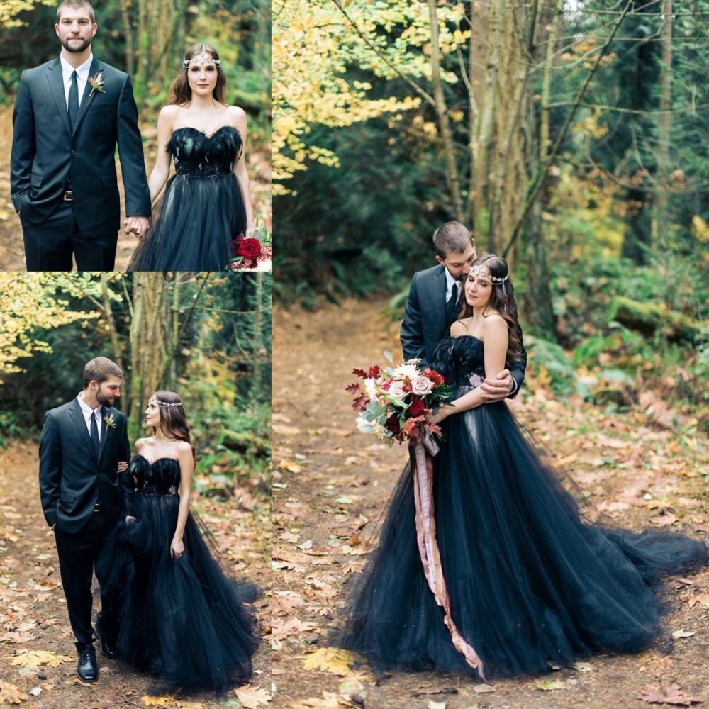 Woodland Nymph In A Black Wedding Dresses 2019 Vintage Retro Feather Strapless Bohemian Sweep Train Gothic Wedding Gown
