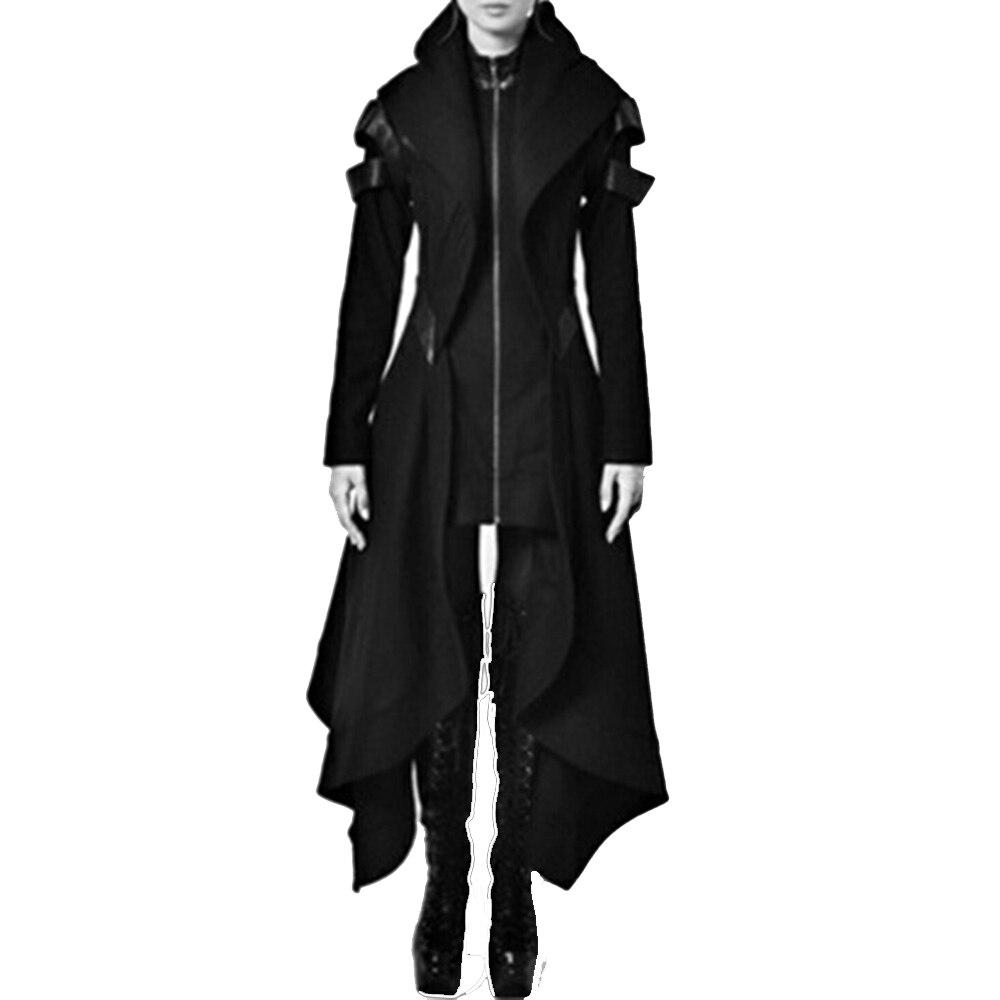 2018 herbst Gothic graben Vintage Mode Frauen Mäntel Schlank Mädchen Winter Warm schwarz Weibliche Gothic Mäntel