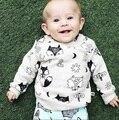 5 pçs/lote Camisolas Do Bebê Meninos Hoodies Raposa Impresso Roupas para Meninas Da Criança Roupa Dos Miúdos Roupas Infantis De Menina