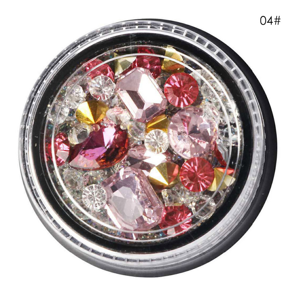 Diamond Nail Manicure Art Glitter multicolorful Manicure bead Fashionable Rhinestone Beads Glass Resin and PVC case Decor Tips