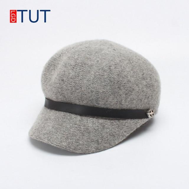 f981a374 2018Autumn Winter Women's Flat Top Hat Belt Decoration Military Hat  Knitting Wool Keep Warm Duck Caps Female Color Newspaper Cap