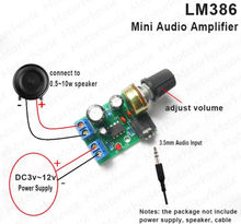 Placa amplificadora de potencia, 2 uds, LM386, HIFI, CC 3V ~ 12V 5v, Mini módulo AMP, Conector de 3,5mm