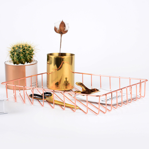 Image 5 - Rose Gold Metal A4 Magazine Organizer Creative Meeting Notepaper Memo Holders File A4 Paper Storage Racks Table Magazines Holder