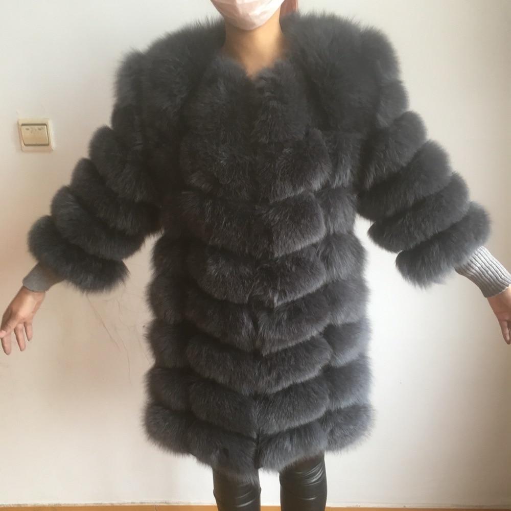 2017 90 cm marca natural de calidad superior Pieles de animales real zorro ártico chaleco señoras desmontable mujeres grueso invierno diseño transformador CAPA