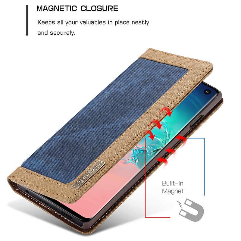 CaseMe для samsung S8 S9 S10 Plus S10 + S10e бизнес Магнитный джинсовый Canva кошелек Подставка чехол для телефона Galaxy S7 S6 Edge Note 9 8