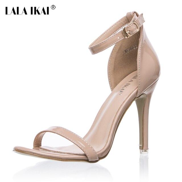 LALA IKAI 2017 Concise Nude Suede tacones altos sandalias mujeres tobillo Strap verano vestido zapatos mujer Open Toe sandalias XWF0648