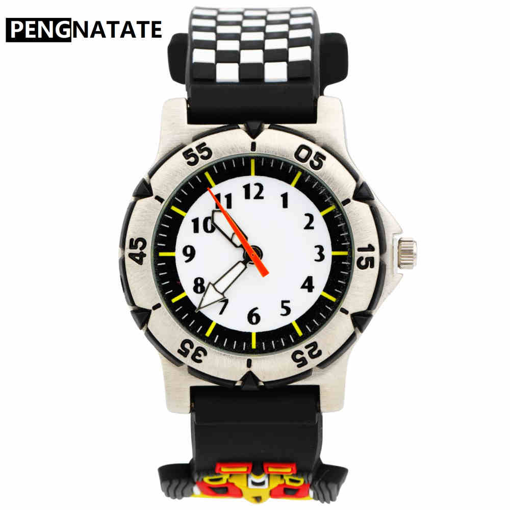 PENGNATATE Children Watches Fashion Racing Car Silicone Strap 3D Cartoon Bracelet Wristwatches For Student Gifts Kids Boys Watch