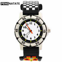 PENGNATATE Children Watches Fashion Racing Car Silicone Strap 3D Cartoon Bracele