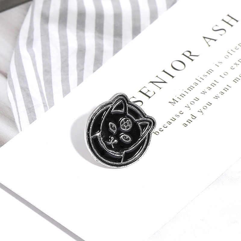 Sihir Hitam Bulan Pesan Kucing Bros untuk Wanita Punk Pakaian Jaket Tas Lencana Penyihir Enamel Pin Bros Perhiasan Halloween Hadiah