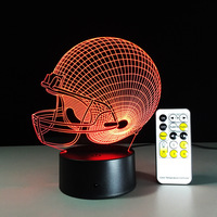 Rugby Hat Light 3D Night Light LED 7 Color Changing Humanoid Desk Table Lamp Meditation Acrylic