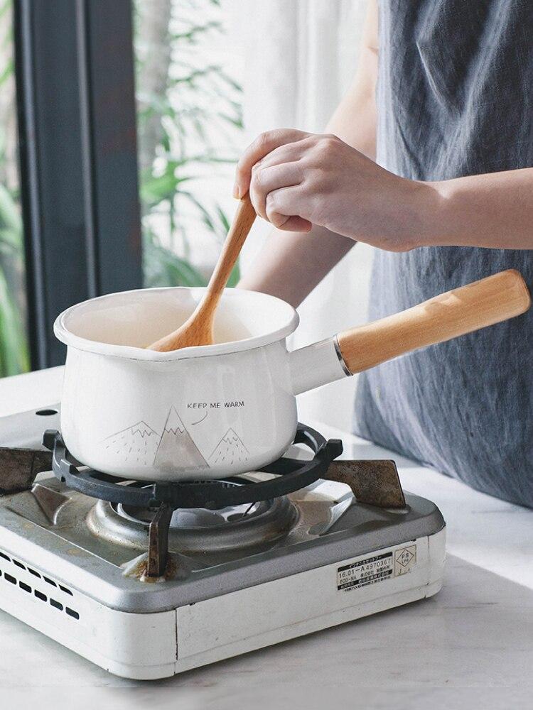 Style japonais épaissi ménage porcelaine émail pot de lait poignée en bois unique bébé nourriture cuiseur nouilles instantanées petit pot casserole