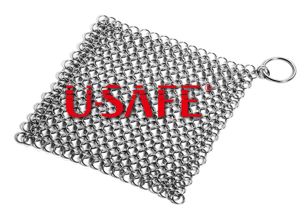 Stainless steel chain mail mesh pan scrubber iron cast cleaner mesh scrubber chain mail mesh