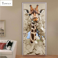 YunXi 2017 New 3D Door Stickers Leather Giraffe Stickers Bedroom Living Room Background Decoration Waterproof Pvc