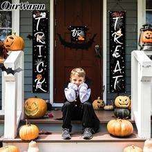 OurWarm Halloween Trick Or Treat Banner Pumpkin Ghost Spider Outdoor Horror Door Hanging Sign Props Party Decoration