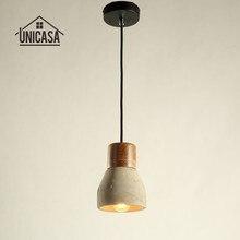 Vintage lámpara colgante industrial Gris Cemento sombra de madera bombilla titular Mini barra de iluminación Hotel antiguo Mini lámpara de techo colgante