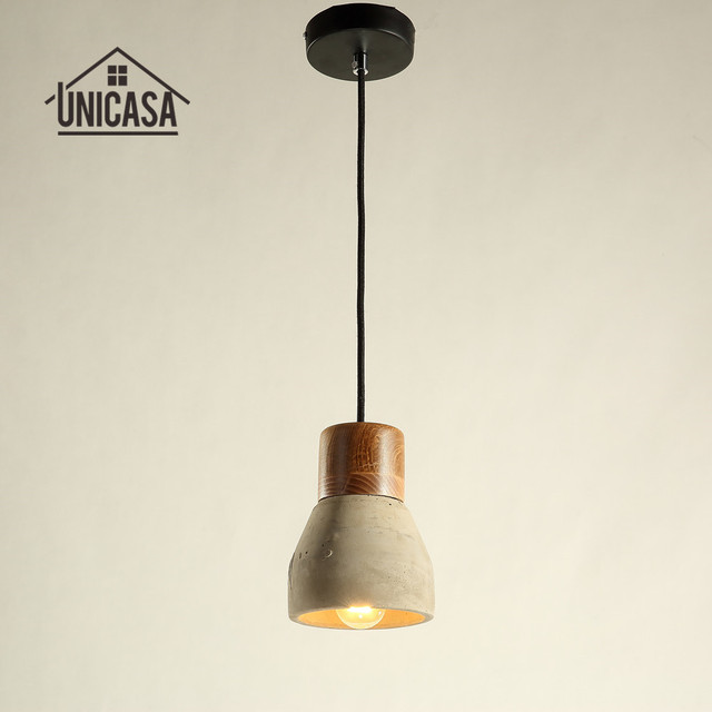Vintage industrial pendant light gray cement shade wooden bulb vintage industrial pendant light gray cement shade wooden bulb holder mini lighting bar hotel antique mini aloadofball Image collections
