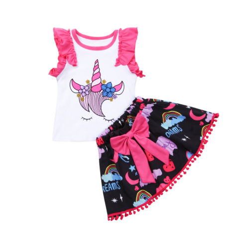 Sweet Unicorn Baby Girls Kids Outfits Clothes Sleeveless Ruffles T-shirt Tops+Cartoon Bow Short Skirts Fashion 2pcs Set 0 24m floral baby girl clothes set 2017 summer sleeveless ruffles crop tops baby bloomers shorts 2pcs outfits children sunsuit
