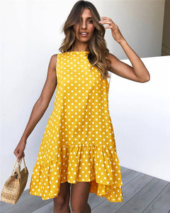 Polka Dot Dress Women 2020 New Summer Beach Casual Dress Plus Size Sleeveless yellow Loose A-Line Midi Beach Dresses Vestidos(China)