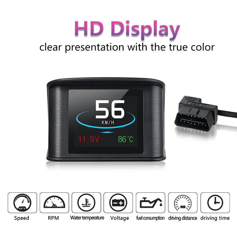 Newest P10 Hud Smart Driving Computer Head-Up Display Fuel Consumption Temperature Gauge Diagnostic Tool Fast Shipping