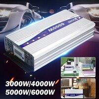 Автомобильный инвертор интеллектуальные Солнечный Чистая синусоида Инвертор 12 В/24 В до 110 В 5000 Вт/6000 Вт Мощность преобразователь цифрового