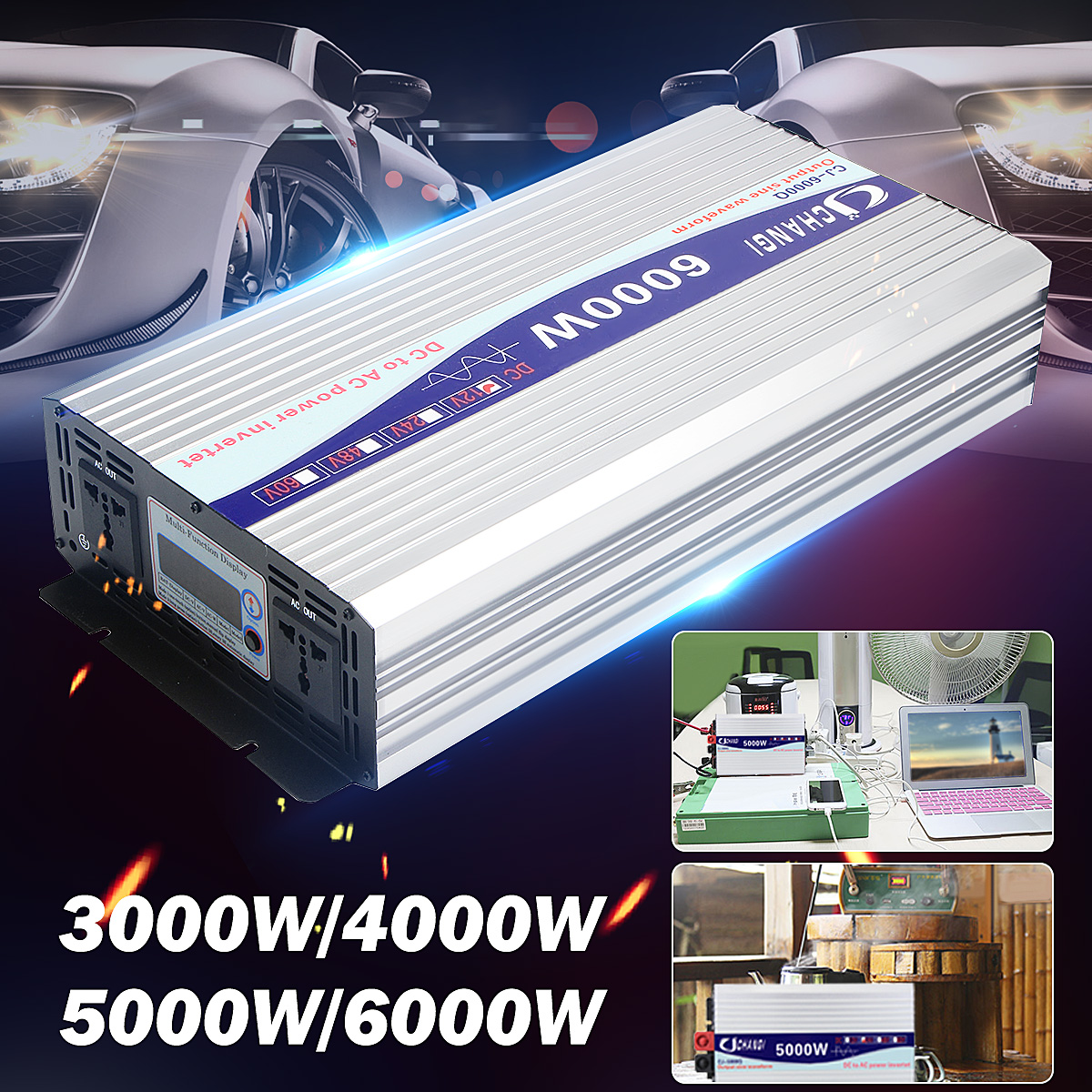 Car <font><b>Inverter</b></font> Intelligent Solar Pure Sine Wave <font><b>Inverter</b></font> 12V/<font><b>24V</b></font> To 110V 5000W/<font><b>6000W</b></font> Power Converter Digital Display for Home image