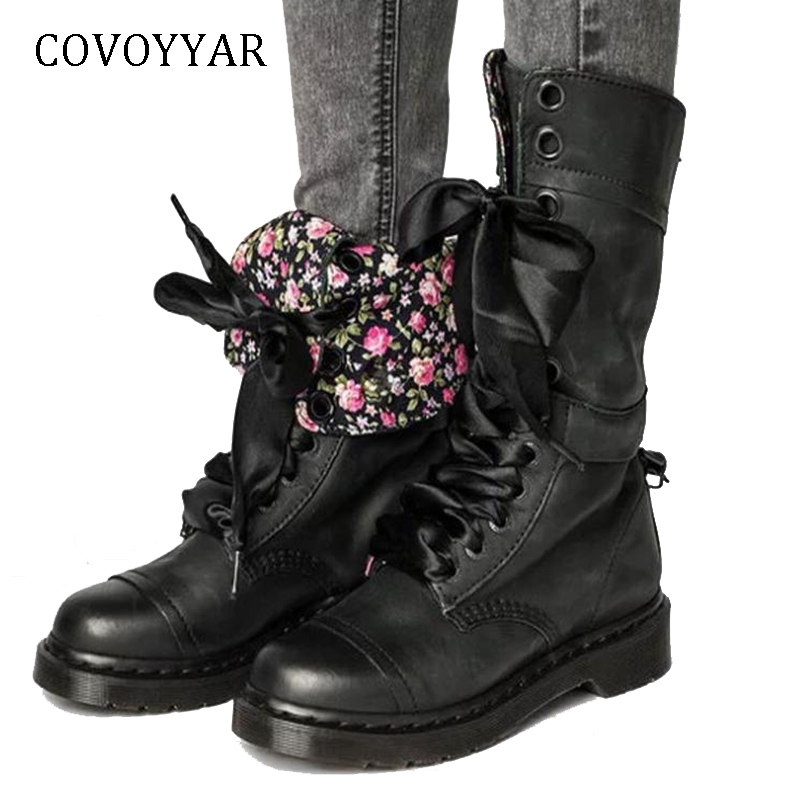 COVOYYAR Hot 2018 Lace Up Motorcycle Knight Boots Women Retro Buckle Mid-Calf Boots Flower Low Heel Women Shoes Big Sizes WBS963 laconic women s mid calf boots with lace up and chunky heel design