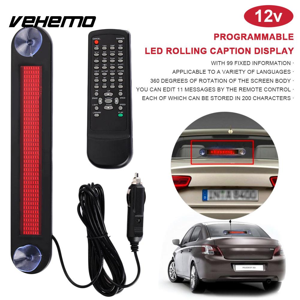 12V Automotive Car LED Sign Display Remote Control Presentation Subtitle Car Light Hint Scrolling Board Truck Accessories