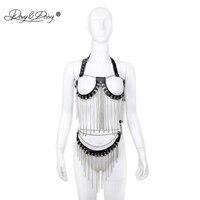 DAVYDAISY Women Sexy Bra Halter Metal Chains Tassel Open Bust Bralette PU Leather Skirt Belt Sexy Lingerie Exotic Sets SE513