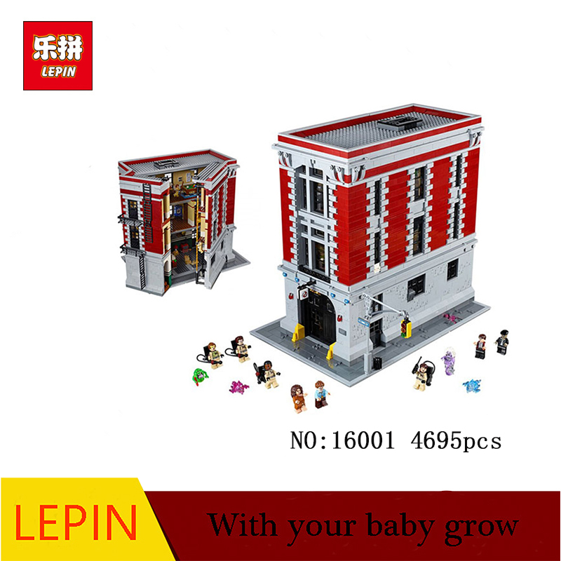 DHL LEPIN 16001 4705Pcs Ghostbusters Firehouse Headquarters brinquedos Model set Building Kits Model Compatible 75827 4695pcs lepin 16001 city series firehouse headquarters house model building blocks compatible 75827 architecture toy to children