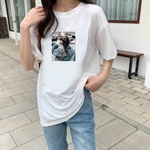 Korean Style Summer Short-sleeved Women T-shirt Female Students Round Neck Loose Tshirt Character Print Plus Size Vintage