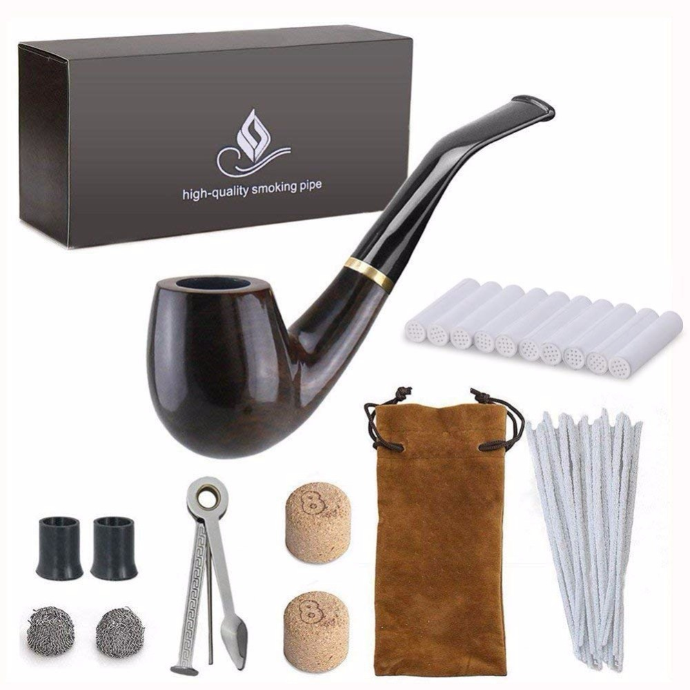 New 1 set Smoking Pipe, Ebony Tobacco Pipe with Pipe Accessories (wooden)