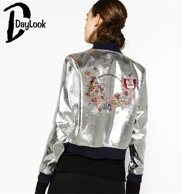 DayLook Fashion Autumn Outfit Women Bomber Jacket Silver Embroidered Pattern Jacket Coat Plus Size S-L Souvenir Jacket Yokosuka