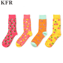 Mens Socks Classic fruit elements Happy Funny Cotton Skateboard Hip Hop Street Crew Harajuku Art Fashion Short