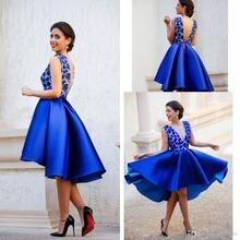 2016 Royal Blue Satin Short Abendkleid Tiefem V-ausschnitt spitze Mieder Sexy Cocktailkleid Open Back Arabisch Party Kleider PD66
