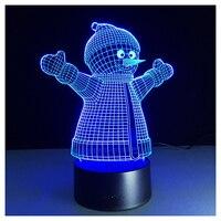 3D Optical Illusion Lamp 7 Colors Change Touch Button Christmas Snowman LED Night Light Black+Transparent