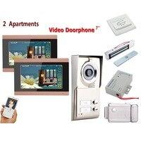 Домашний Комплект 7 дюймовые часы с записью времени беспроводной wi fi 3 Видео для квартир домофон системы 1000TVL камера дверные звонки + электри