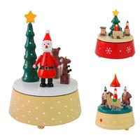 Christmas Dreams Rotary Wooden Music Box Christmas Decoration For Home Xmas Party Kids Gifts Music Box
