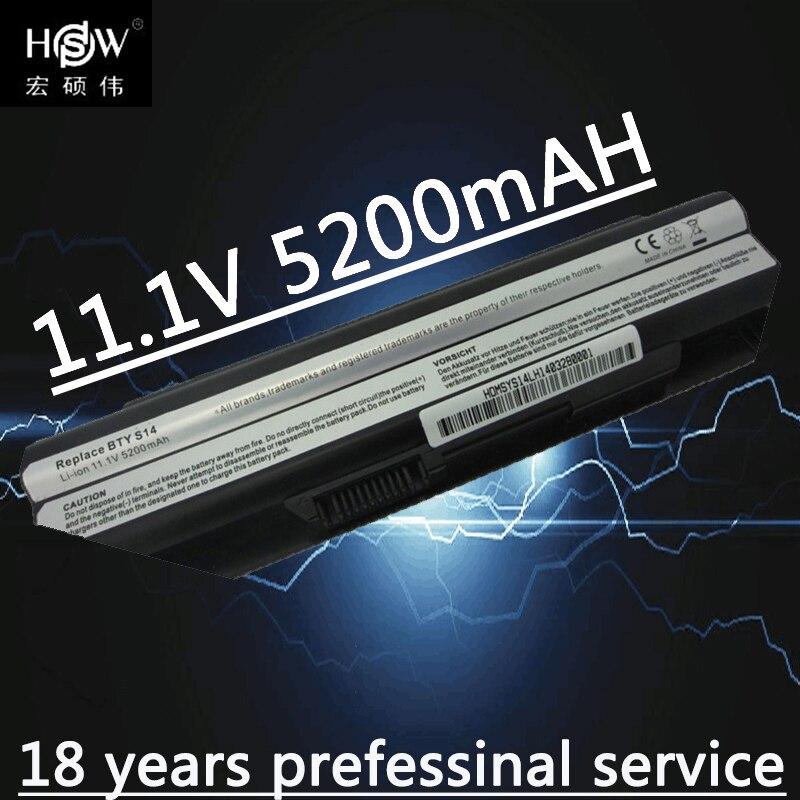 HSW 6 celle batteria per 40029150 40029231 40029683 BTY-S14 BTY-S15 E2MS110K2002 E2MS110W2002, E2MS115K2002 MSI6A200SSSA1 bateria