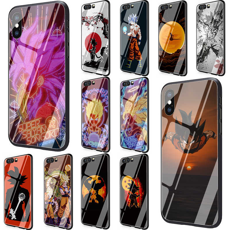 Dragon Ball Goku Tempered Glass Phone case for Huawei P10 P20 P30 Mate 20 Honor 9 10 Lite 7A Pro 8X Y6 Y9 P Smart